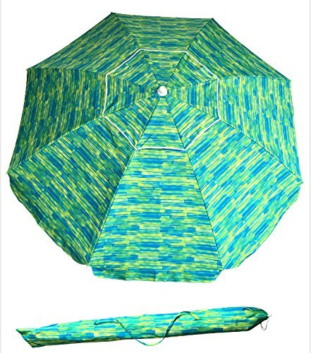 SueSport Sand Anchor 7 feet Beach Umbrella with Tilt and Telescoping Pole - Best Beach Umbrella for Wind
