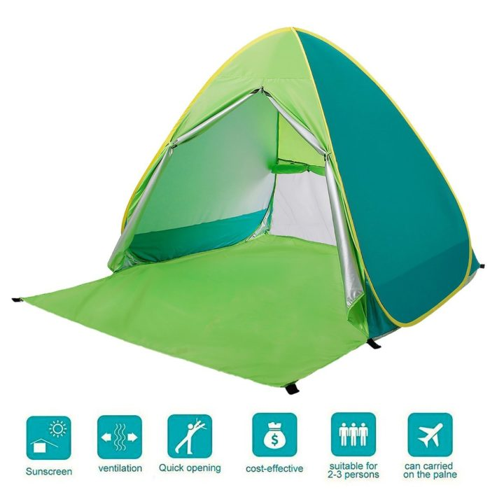 BATTOP Automatic Pop Up Beach Tent Sun Shelter Cabana 2-3 Person UV Protection Beach Shade for Outdoor Activities - Best Beach Canopy for Wind Protection
