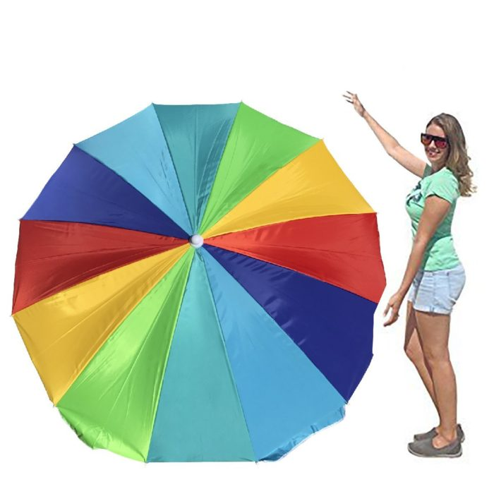 EasyGo Rainbow Beach Umbrella - Portable Wind Beach Umbrella Large - Folding Beach Umbrella Set with Screw Anchor and Carrying Bag - The Best Beach Umbrella