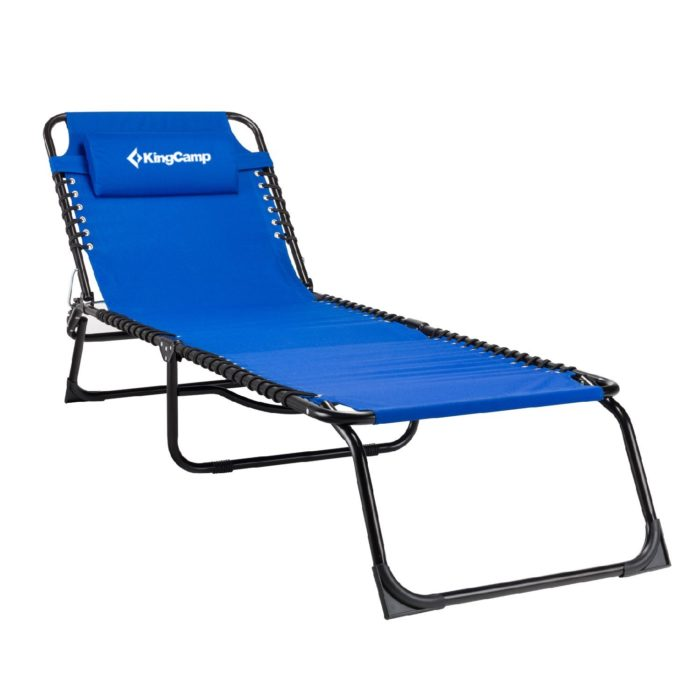 Kingcamp Tri Folding Patio Lounge Chair Portable Folding Chaise Bed for Outdoor Indoor Furniture Home Garden Yard Pool Beach Camping Cot with Removable Pillow. - The best beach chair