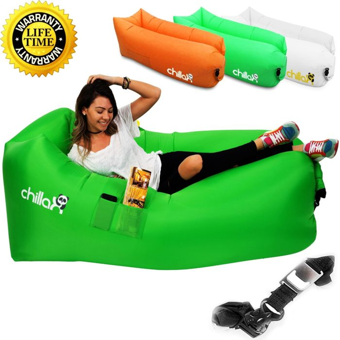 ChillaX Inflatable Lounger Hammock - Best Air Lounger for Travelling, Camping, Hiking - Ideal Inflatable Couch for Pool and Beach Parties - The best beach chair
