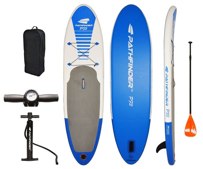"PathFinder Inflatable SUP Stand Up Paddleboard 9' 9"" (5"" Thick) - Best paddleboards for Beginners"