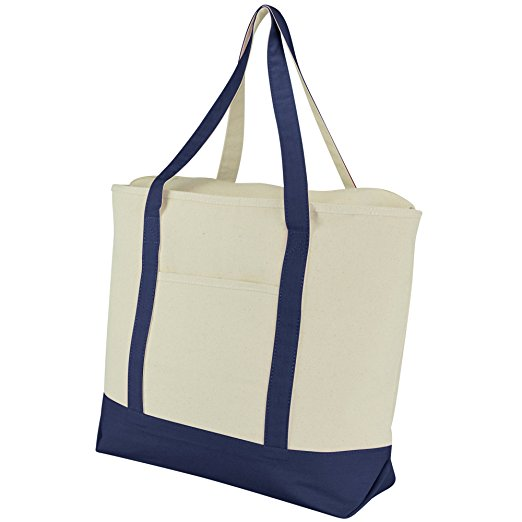 "22"" Heavy Duty Cotton Canvas Tote Bag (Zippered) - Best beach bag for moms"