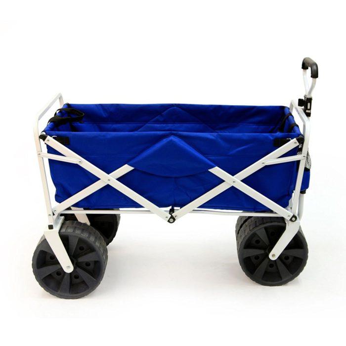 Mac Sports Heavy Duty Collapsible Folding All Terrain Utility Beach Wagon Cart, Blue/White - Best Beach Wagon