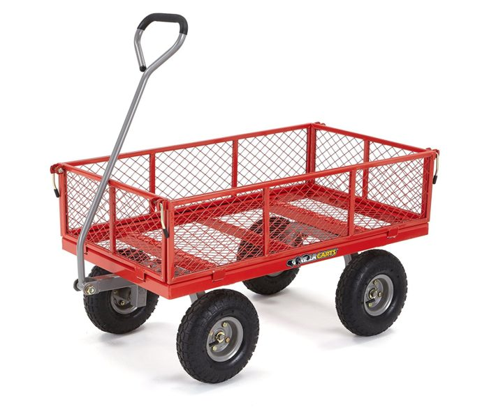 Gorilla Carts Steel Utility Cart with Removable Sides with a Capacity of 800 lb, Red - Best Beach Cart