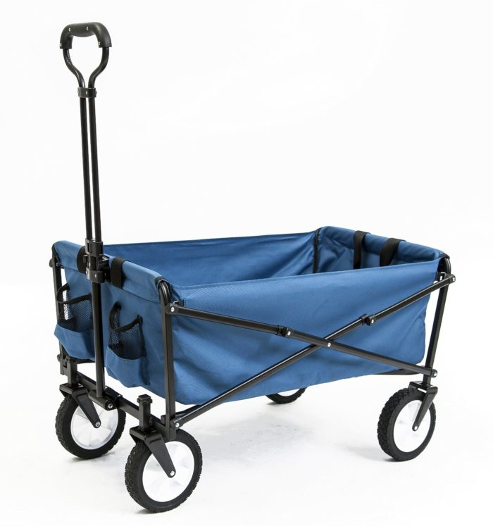 Seina Collapsible Folding Utility Wagon Garden Cart Shopping Beach Outdoors, Blue - Best Beach Wagon