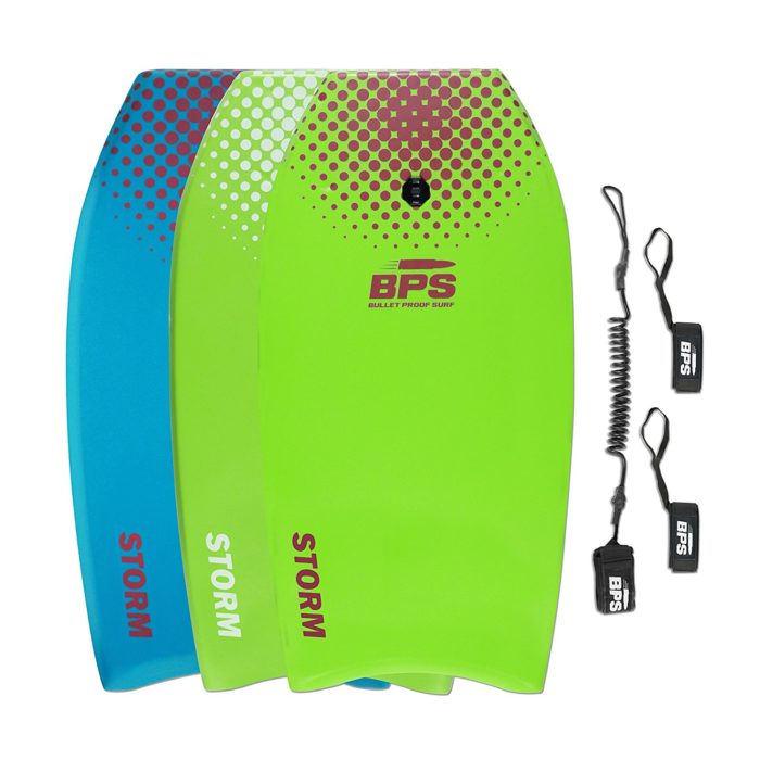 STORM Bodyboard by BPS - includes BPS PREMIUM Coiled Leash and Swim Fin Tethers (Single Board) - Best Boogie Board for Kids