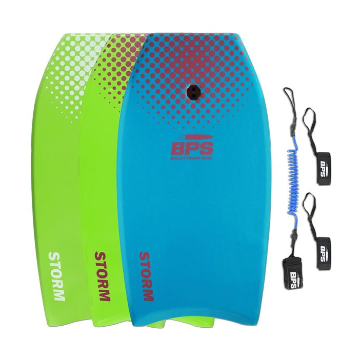 STORM Bodyboard by BPS - includes BPS PREMIUM Coiled Leash and Swim Fin Tethers (Single Board) - Best boogie board
