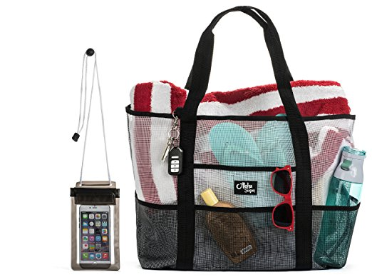 Aloha Sugar Beach Bag - Mesh Beach Bag and Beach Tote Bag - Best beach bag for moms
