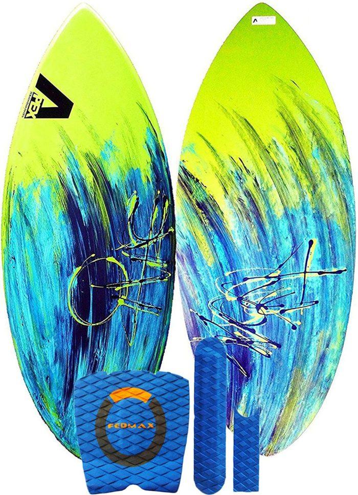 Skimboard / Wakesurf Board, Fiberglass/Carbon Fiber Avac by Apex, Choose Size/Design, Bundled with Fedmax Tricks Guide, Skim Board for Kids/Adults. - Best Skimboards