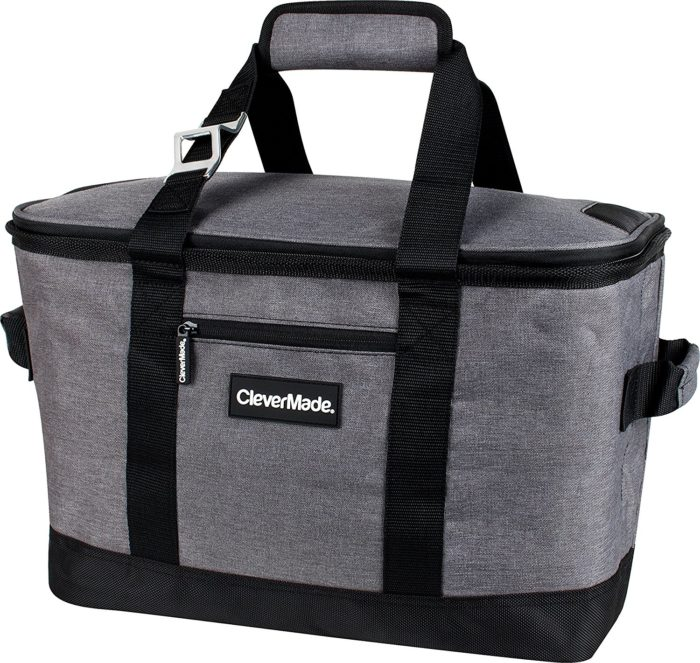 CleverMade SnapBasket Collapsible Soft-Sided 50 Can Cooler, 30 Liter - Best Beach Cooler